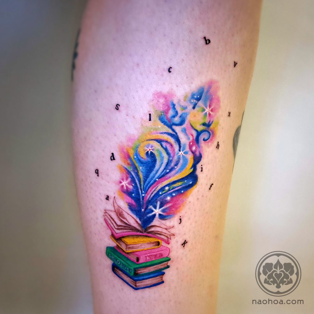 'The Magic of Books' designed and tattooed by Naomi Hoang at NAOHOA Luxury Bespoke Tattoos, Cardiff (Wales, UK).