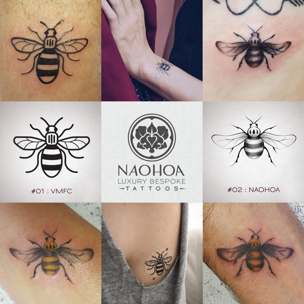 Photos of Manchester Bee tattoos by Naomi Hoang, in tribute to the Manchester Arena Attack on 22nd May 2017 at an Ariana Grande concert.
