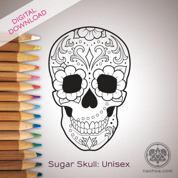 Sugarskull illustration by Naomi Hoang at NAOHOA Luxury Bespoke Tattoos.