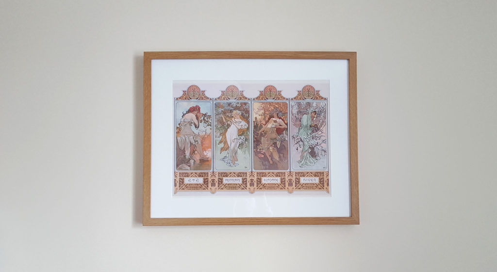 Photograph of Alphonse Mucha's 'The Seasons'. A framed print purchased at the Liverpool Walker Museum by Naomi Hoang, founder of NAOHOA Luxury Bespoke Tattoos, Cardiff (Wales, UK).