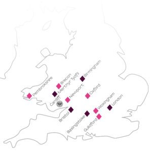 A 'Travel Map' of places people have come to NAOHOA Luxury Bespoke Tattoos (Cardiff, Wales) for their tattoo.