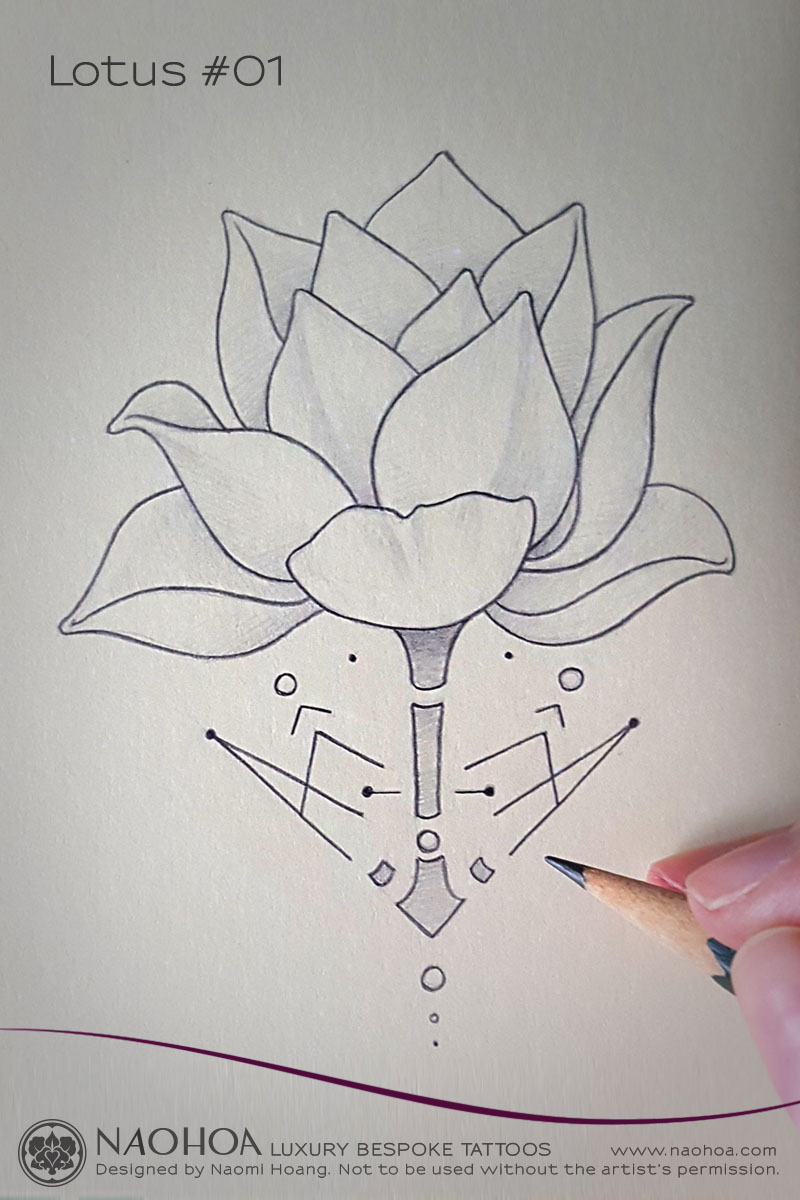 Georganic Lotus flower tattoo design by Naomi Hoang.