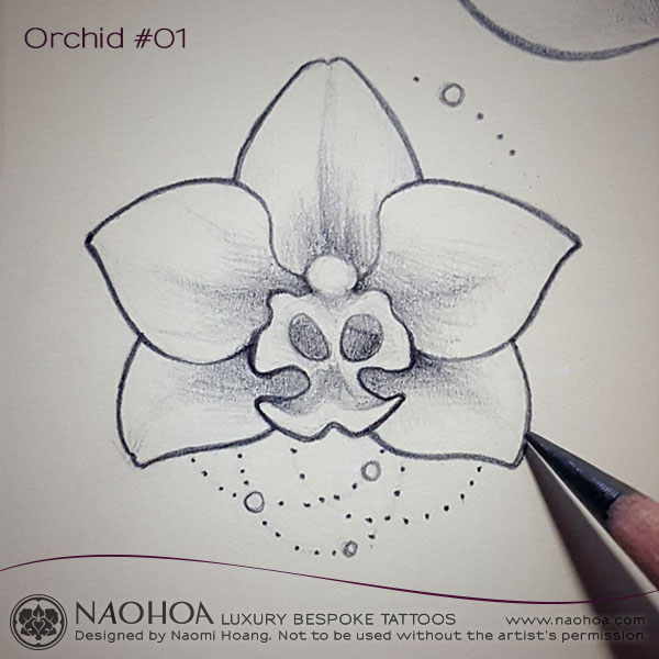 Original 4x4 tattoo design of an orchid with chandelier details by Naomi Hoang.