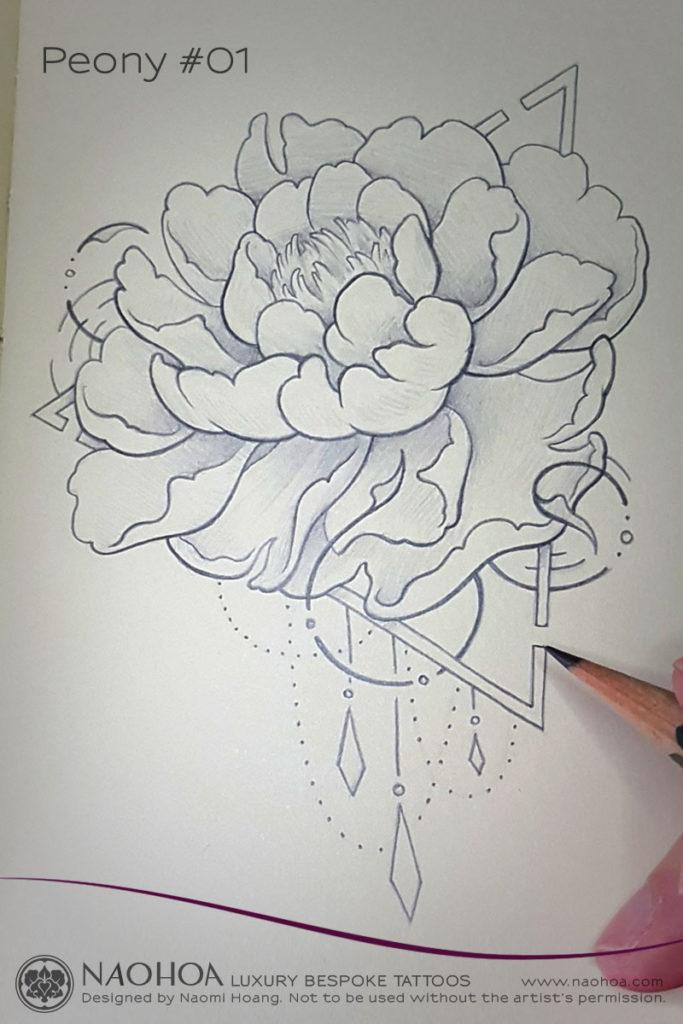 Georganic Peony flower tattoo design by Naomi Hoang.