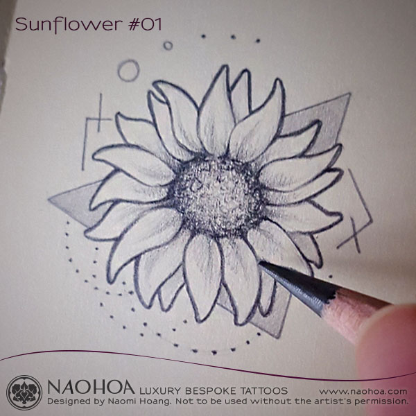Georganic sunflower design by Naomi Hoang.