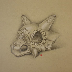 Pencil drawing of a Cubone skull, decorated as a sugarskull. Pokémon fanart. Drawn by Naomi Hoang (Illustrator & Tattoo Artist at NAOHOA Luxury Bespoke Tattoos, Cardiff, Wales, UK).