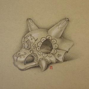 Pencil drawing of a Cubone skull, decorated as a sugarskull. Pokémon fanart. Drawn by Naomi Hoang (Illustrator & Tattoo Artist at NAOHOA Luxury Bespoke Tattoos, Cardiff, Wales, UK).