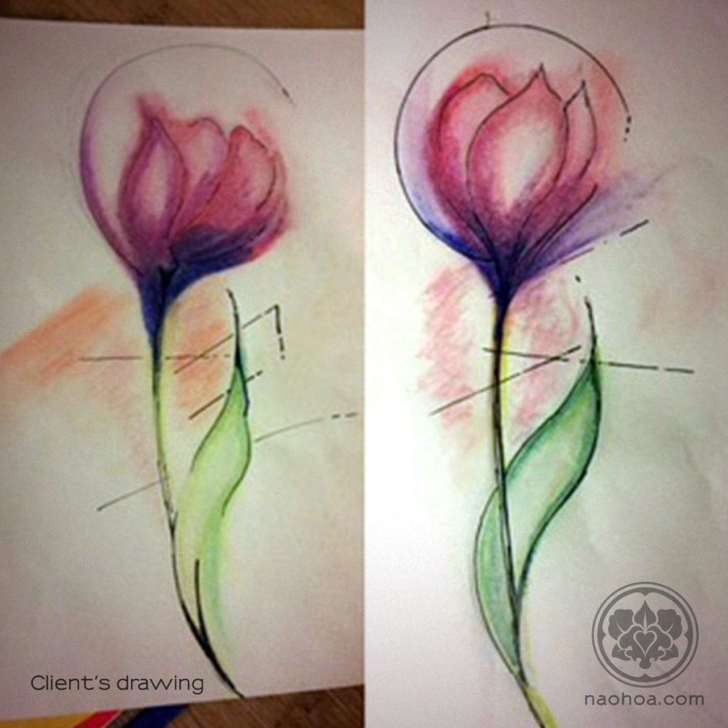 Pencil drawings by a Bristol-based NAOHOA client for Naomi Hoang to use as inspiration for her tattoo design (Cardiff, Wales).