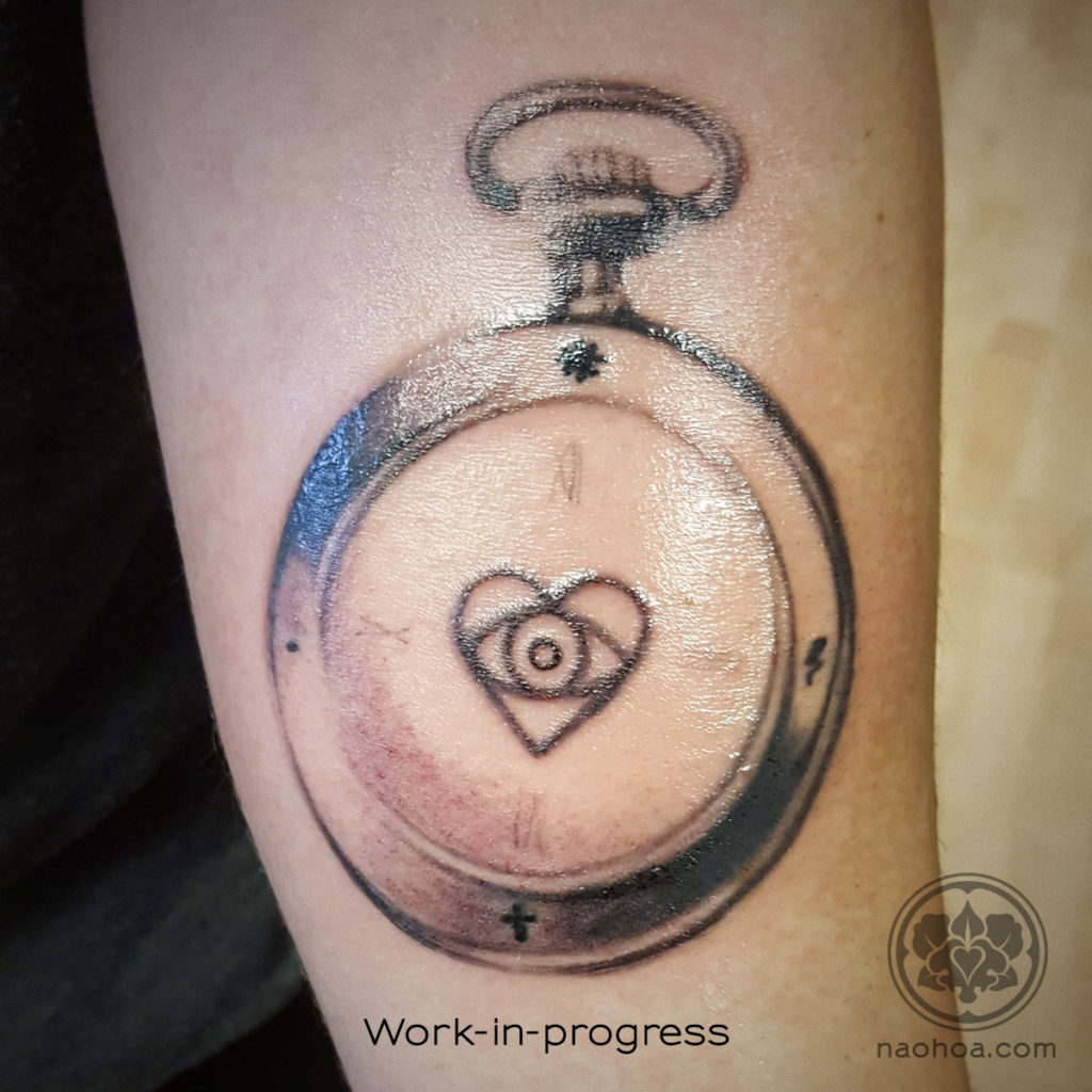 Work-in-progress of a clock and rose tattoo by Naomi Hoang, NAOHOA Luxury Bespoke Tattoos, Cardiff, Wales, UK.