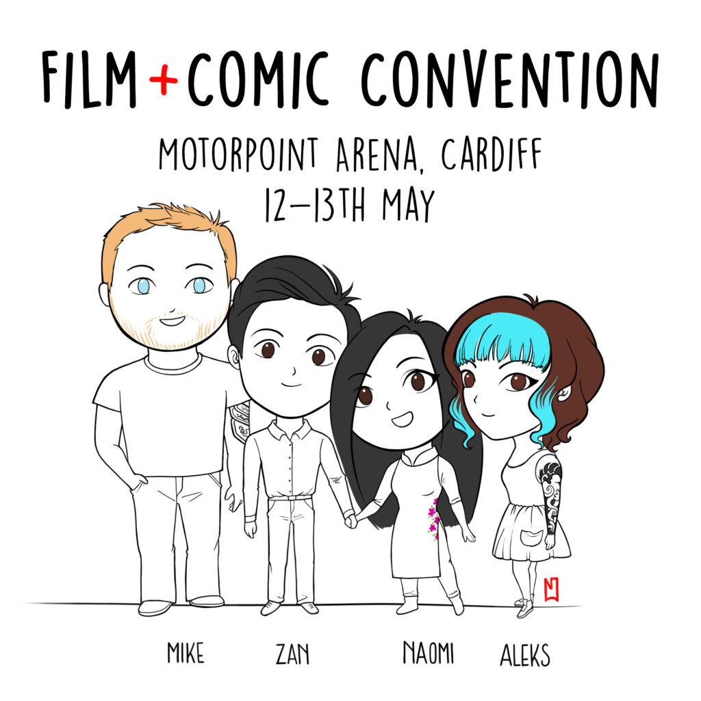 Drawing by Naomi Hoang of the NAOHOA Team for Film & Comic Convention Cardiff 2018