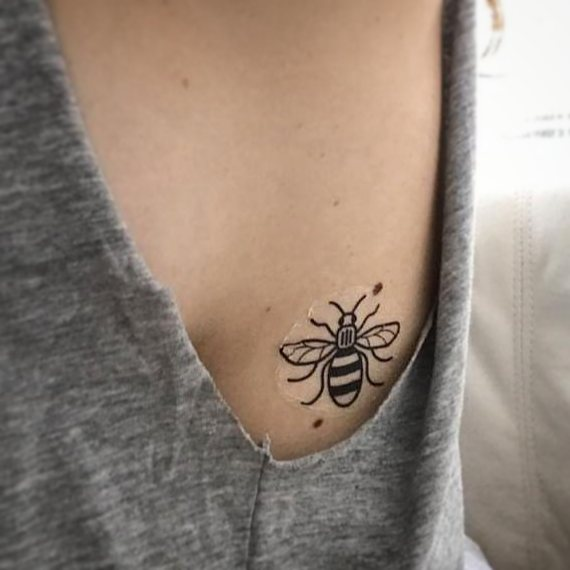 Manchester Bee temporary tattoo, in tribute to the Manchester Arena Attack on 22nd May 2017 at an Ariana Grande concert.