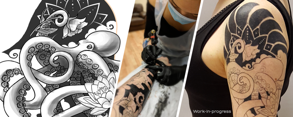 Photos of an original tattoo design, process and result by Naomi Hoang (Tattoo Artist and wner of NAOHOA Luxury Bespoke Tattoos, Cardiff, Wales, UK).