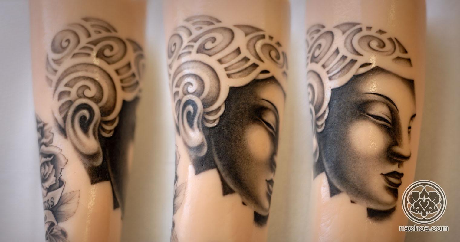 Buddha tattoo by Naomi Hoang at NAOHOA.