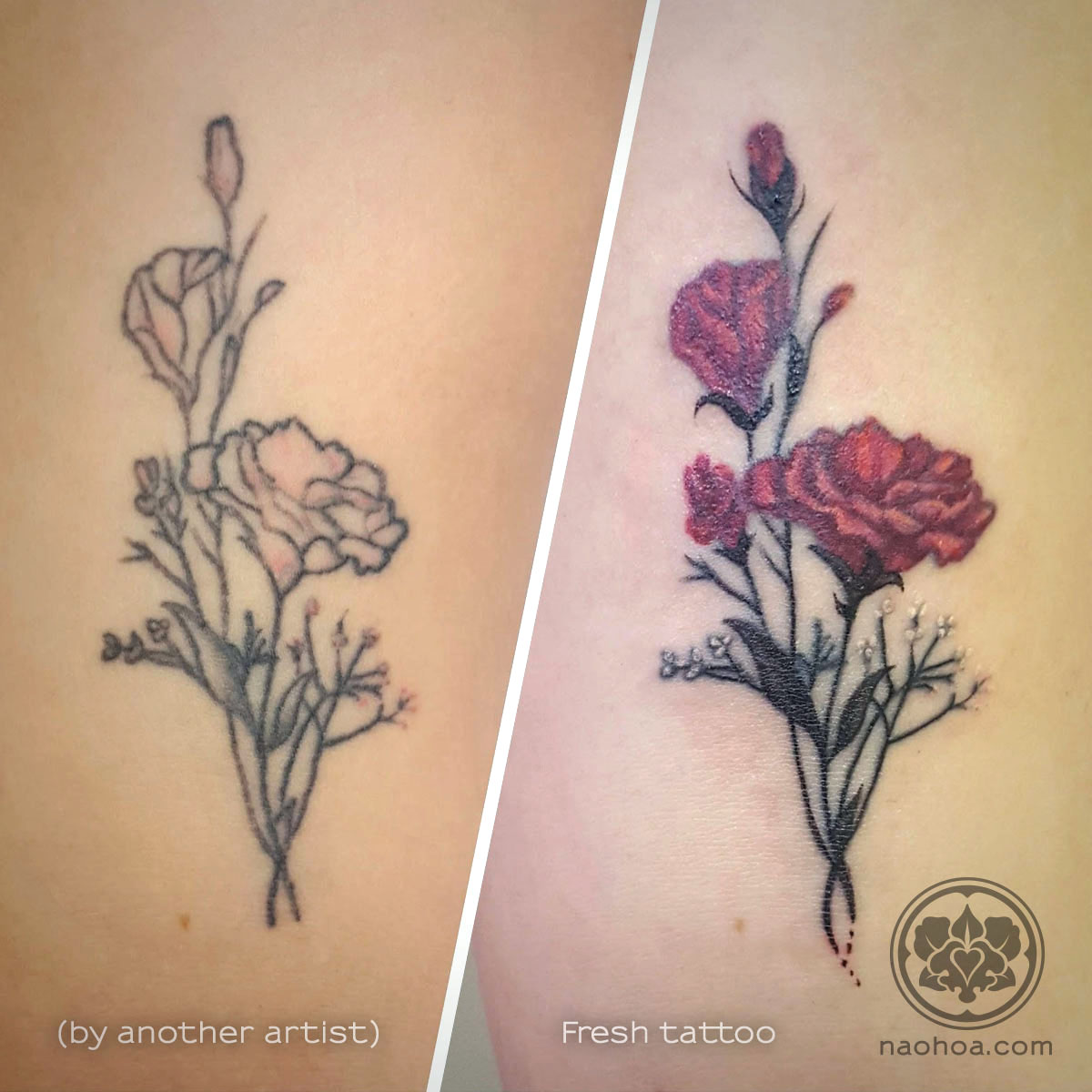 Before-and-after photo of a tattoo with carnations and baby's breath flowers. Reworked by Naomi Hoang at NAOHOA Luxury Bespoke Tattoos, Cardiff (Wales, UK)