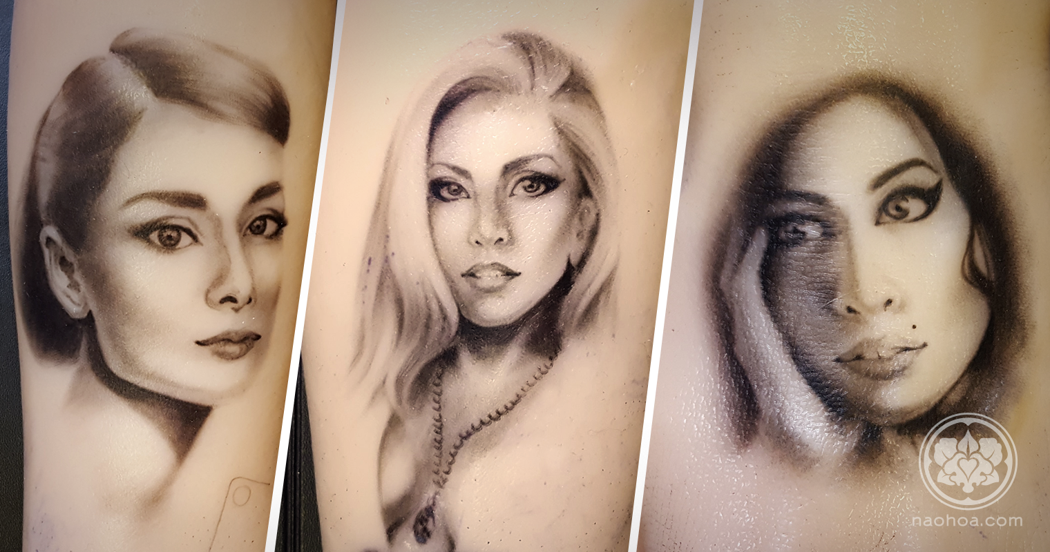 Tattoo portraits of Audrey Hepburn, Lady Gaga and Amy Winehouse.