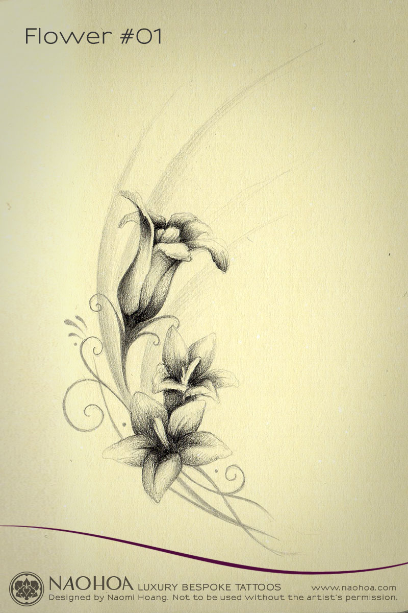 Delicate tattoo design of three flowers with swirls and soft gradients.