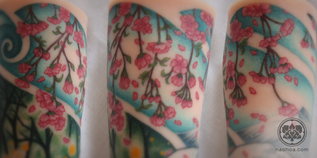 Japanese wood-block-style tattoo sleeve designed and tattooed by Naomi Hoang on an A Pound of Flesh silicone arm. NAOHOA Luxury Bespoke Tattoos, Cardiff, Wales, UK.
