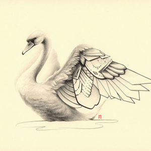 Pencil and ink illustration of a beautiful swan with geometric elements, by Naomi Hoang (Illustrator & Tattoo Artist at NAOHOA Luxury Bespoke Tattoos, Cardiff, Wales, UK).
