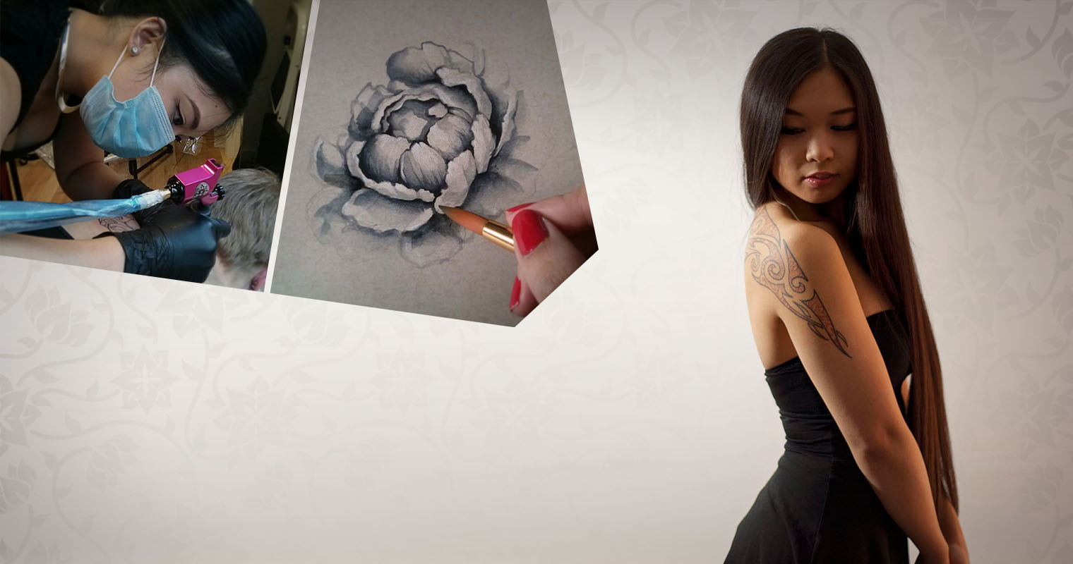 Photos of Naomi Hoang, the artist behind NAOHOA Luxury Bespoke Tattoos