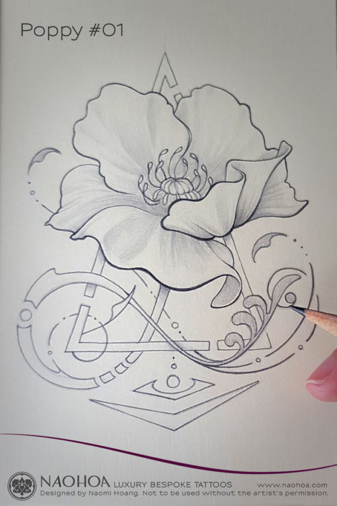 Georganic poppy flower tattoo design by Naomi Hoang.