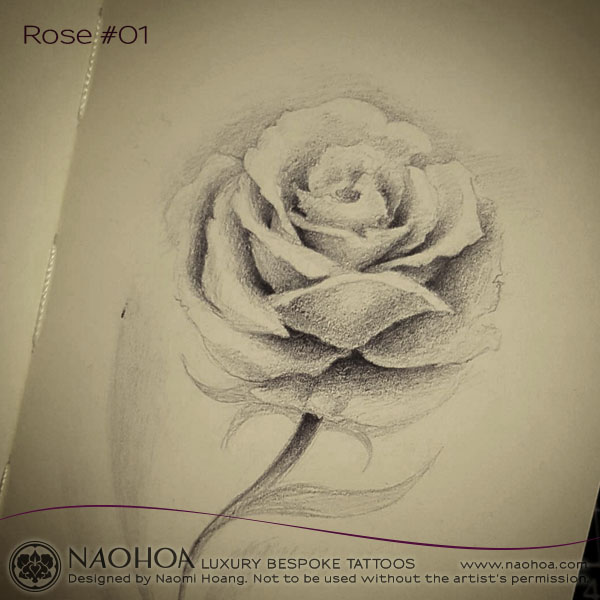 A sketch of a delicate rose by Naomi Hoang.